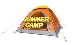 Orange yellow camping tent SUMMER CAMP concept 3D. Render illustration isolated on white background stock illustration
