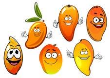 Orange and yellow cartoon mango fruits Stock Photo