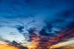 Orange and yellow colors sunset sky. Royalty Free Stock Photography