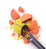 Orange and yellow crashed eyeshadow for makeup as sample of cosmetic product Royalty Free Stock Photography