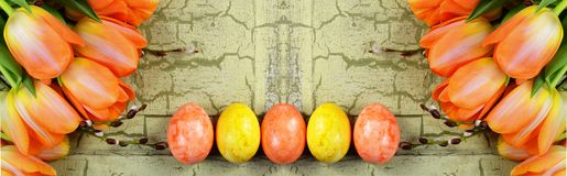 A banner with orange tulips and yellow easter eggs. royalty free stock photos