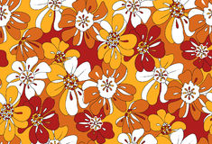 Orange and yellow floral pattern overlapping flowers royalty free stock image