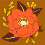 Orange and Yellow Flower Vector on Brown background. Flower Garden Vector, brown background, yellow and orange flowers, isolated flower, flower Stock Photos