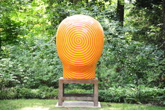 Orange and Yellow Jun Kaneko Ceramic Art Exhibit at the Dixon Gallery and Gardens in Memphis, Tennessee Stock Photos