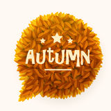 Orange or yellow leaves circle speech bubble isolated on white background. Autumn or fall concept. Royalty Free Stock Photography