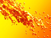 Orange yellow liquid bubbles splash abstract background. 3d render illustration Vector Illustration