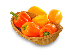 Orange and yellow paprika pepers Royalty Free Stock Photo