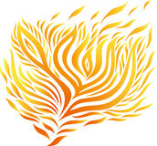 Orange and yellow pattern of fire. On a white background Stock Photo