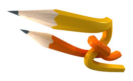 Orange and yellow  pencils interlaced Royalty Free Stock Photos
