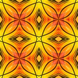 Orange yellow red abstract texture with black lines. Bright seamless tile. Fabric design sample. Optimistic and energetic backgrou stock illustration