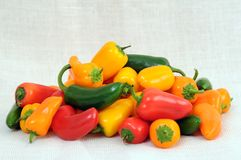 Orange, yellow and red bell pepper Stock Photo