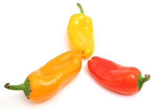 Orange yellow red belll pepper. Photo of a isolated yellow orange red  bell pepper on white Stock Photography