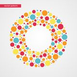 Orange yellow red and blue bubbles vector pattern. Circle shape frame symbol. Decorative design element. Orange yellow red and blue bubbles vector pattern Royalty Free Stock Photos