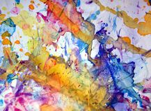 Orange yellow red blue rainbow pastel spots background, sparkling muddy waxy paint, contrast shapes background in pastel hues stock photos