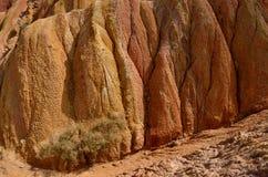 Orange,yellow and red rocks of Fairy tale gorge,Kyrgyzstan,Issyk. Kul region stock photo