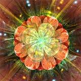 Orange yellow shining fractal flower - 3d render Stock Photography