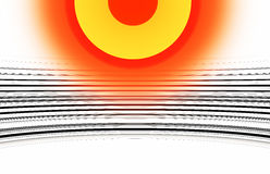 Orange yellow sun with black and white curved lines illustration Royalty Free Stock Photography