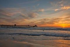 Orange-Yellow Sunset on Coronado Island, California Stock Photography