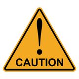 Orange yellow triangle with exclamation mark word caution, vector Hazard warning attention sign Stock Photo