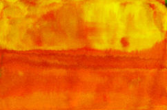 Orange yellow warm watercolor textured background Royalty Free Stock Photography