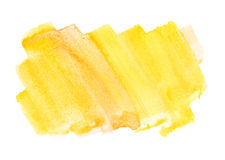 Orange yellow water color paint rough square shape texture on wh Stock Photo