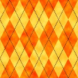 Orange and yellow watercolor argyle background. Seamless pattern good for web pages or as wallpaper stock illustration