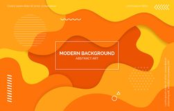 Orange and yellow waves background, banner, layout with text space, abstract elements. stock illustration