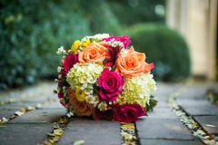 Orange, yellow, white wedding bouquet Stock Image