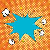 Orange, yelow rays and dots pop art background. clouds and speech star bubble for text. retro vector illustration for Stock Photography
