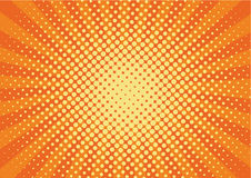 Orange, yelow rays and dots pop art background. retro vector illustration drawing for design. Royalty Free Stock Images