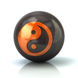 Orange Yin Yang icon on black glossy sphere Royalty Free Stock Images
