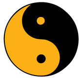 Orange Yin Yang Symbol. A Simple Yin Yang symbol but with the normal white replaced with orange Stock Photo
