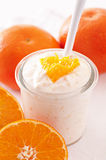 Orange yoghurt Royalty Free Stock Photography