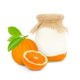 orange yoghurt royaltyfria foton