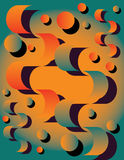 Orange You Glad?. Circles and ribbons are featured in a festive abstract background illustration Royalty Free Stock Photo