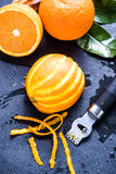 Orange and zest, natural refreshing ingredients Royalty Free Stock Image