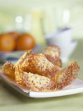 Orange zest tuiles. Food, gastronomy, cuisine,cookery Stock Image