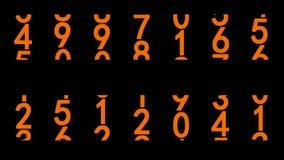 Orange Ziffern belebt stock abbildung