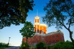Orange Zitadellenschloss Kastellet des Ziegelsteines mit Festung, Stockholm, lizenzfreie stockfotos