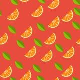 Orange, Zitrone auf rotem Hintergrund Nahtloses Muster Auch im corel abgehobenen Betrag Stockfotos