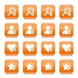 Orange zusätzlicher Zeichenquadratikonen-Netzknopf vektor abbildung