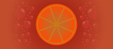 Orangeade. Background with orange and bubble Stock Photos