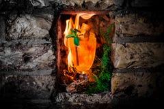 Orangeade chaude dans la perspective d'une flamme photos libres de droits