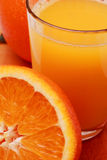 Orangejuice1. Orange juice and half orange Stock Photos