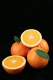 Orangen auf schwarzem Hintergrund Stockfotos