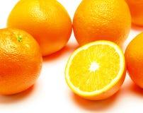 Orangen auf weißem bacground Stockfotos