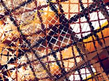 Orangen-, Brauner und weißerabstrakter Fractalhintergrund mit chaotischen schroffen Netzen Lizenzfreie Stockfotos