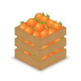 Orangen in der hölzernen Kiste Stock Abbildung
