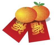Orangen des Chinesischen Neujahrsfests und rote Geld-Pakete krank Lizenzfreies Stockfoto