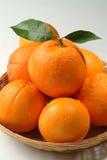 Orangen in einem Korb Stockfoto